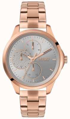 HUGO #fearless | zilveren wijzerplaat | rose gouden pvd armband 1540049