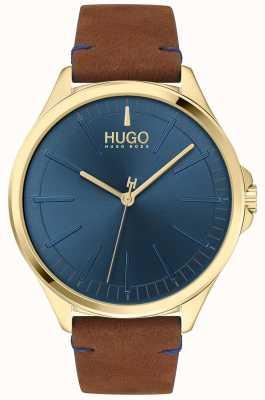 HUGO #smash | blauwe wijzerplaat | bruine leren band 1530134