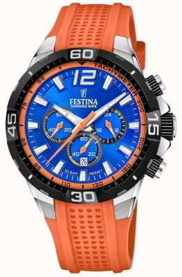 Festina Chrono bike 2020 blauwe wijzerplaat oranje band F20523/6
