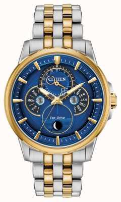 Citizen Heren   eco-drive   maanfase   horloge met blauwe wijzerplaat BU0054-52L