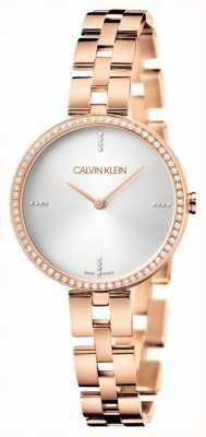 Calvin Klein Elegantie | rosé gouden roestvrijstalen armband | zilveren wijzerplaat KBF23X4W