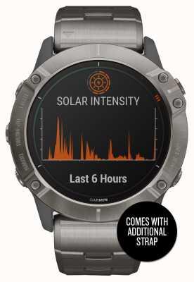 Garmin Fenix 6x pro solar | titanium armband en oranje band 010-02157-24