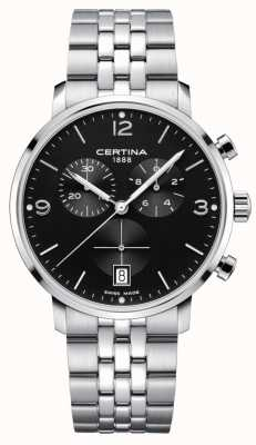 Certina Heren   ds caimano   chronograaf   zwarte wijzerplaat   roestvrij C0354171105700