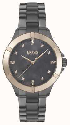BOSS minisport voor dames | grijze stalen armband | parelmoer 1502470
