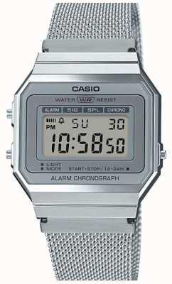Casio vintage | stalen mesh armband | stopwatch | led-achtergrondverlichting A700WEM-7AEF