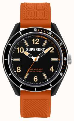 Superdry Osaka duik | oranje siliconen band | zwarte wijzerplaat SYG304O