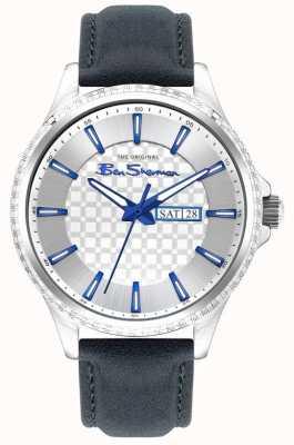 Ben Sherman | blauwe leren herenband | zilveren wijzerplaat BS029U