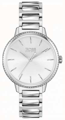 BOSS | handtekening van de vrouw | roestvrijstalen armband | zilveren wijzerplaat 1502539