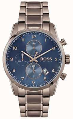 BOSS | skymaster voor heren | bruine ion-plated armband | blauwe wijzerplaat 1513788