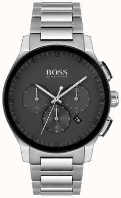 BOSS | herenpiek | roestvrijstalen armband | zwarte wijzerplaat | 1513762