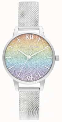 Olivia Burton Zilveren armband voor dames | veelkleurige glitter wijzerplaat OB16GD69