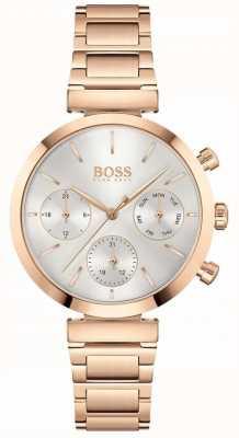 BOSS Onberispelijk | dames roségouden pvd armband | zilveren wijzerplaat 1502531