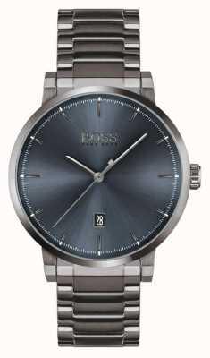 BOSS Vertrouwen | grijs ion plated armband | blauwe wijzerplaat 1513793