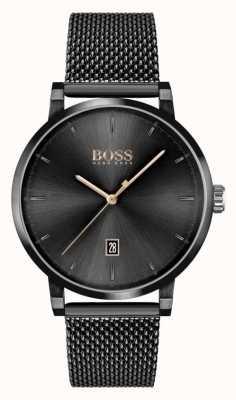 BOSS vertrouwen van mannen | zwarte mesh armband | zwarte wijzerplaat 1513810