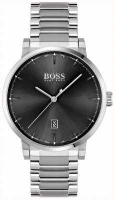 BOSS | vertrouwen van mannen | roestvrijstalen armband | zwarte wijzerplaat 1513792