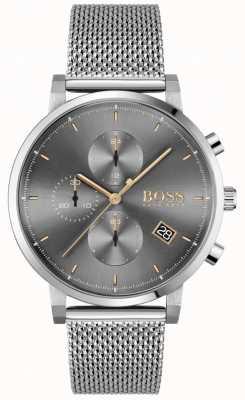 BOSS integriteit van mannen | stalen mesh armband | grijs / zwarte wijzerplaat 1513807