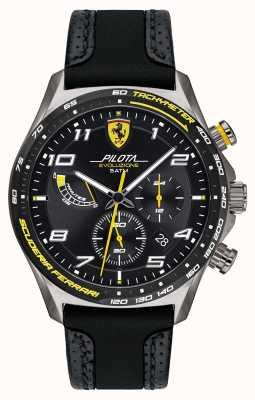 Scuderia Ferrari | Pilota voor heren | zwarte siliconen / leren band | zwarte wijzerplaat 0830718