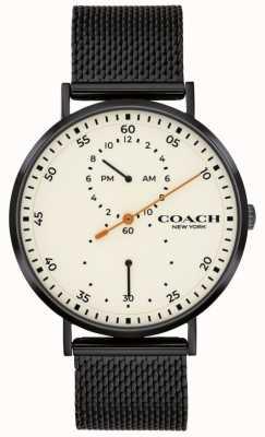 Coach | Charles voor heren zwarte mesh armband | witte wijzerplaat 14602480