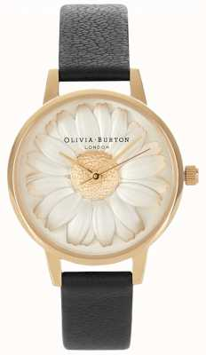 Olivia Burton 3d madeliefje | zwarte leren damesriem | daisy dial OB15EG38