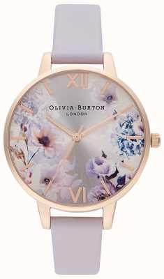 Olivia Burton Zonlicht bloemen | lila leren damesriem | bloemen wijzerplaat OB16EG140