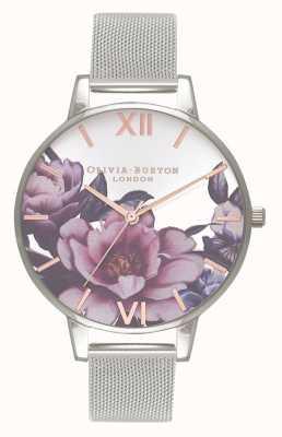 Olivia Burton Dames salon | pioen grote wijzerplaat | zilveren mesh armband OB16PL60