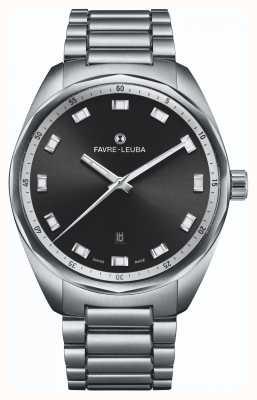 Favre Leuba Sky chief date | roestvrijstalen armband | zwarte wijzerplaat 00.10201.08.11.20