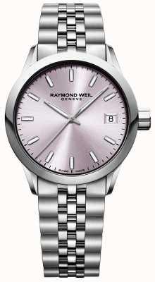 Raymond Weil Freelancer voor dames | roestvrijstalen armband | roze wijzerplaat 5634-ST-80021