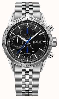 Raymond Weil Freelancer voor heren | automatische chrono | stalen armband | zwart 7731-ST-20021