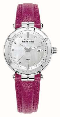 Michel Herbelin Newport diamanten wijzerplaat met fuschia lederen band 14288/AP89FU