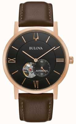 Bulova Amerikaanse klipper | automatisch | zwarte wijzerplaat | bruin leer 97A155