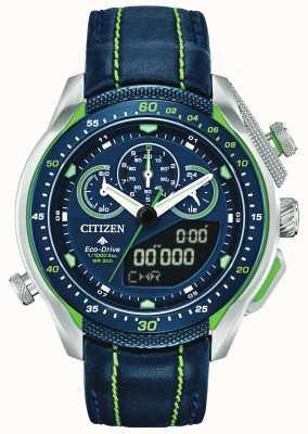 Citizen Promaster sst | wereldtijd | blauwe lederen band JW0138-08L