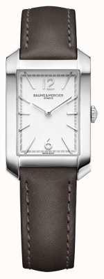 Baume & Mercier Lady Hampton | opaline zilveren wijzerplaat | lederen band M0A10471