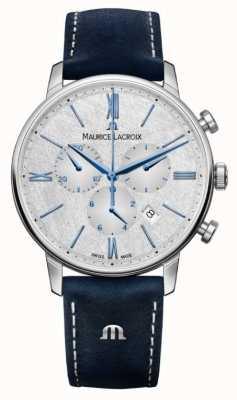 Maurice Lacroix Eliros chronograaf | blauwe leren band | zilveren wijzerplaat EL1098-SS001-114-1