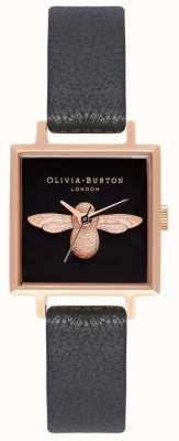 Olivia Burton 3d bij   zwarte leren band   zwarte vierkante bijen wijzerplaat OB16AM128