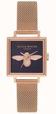Olivia Burton 3d bij | rosegouden mesh armband | vierkante bijen wijzerplaat OB16AM96