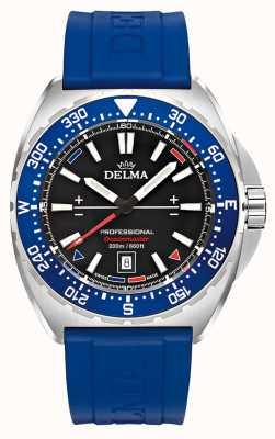 Delma Oceanmaster quartz | blauwe rubberen band | zwarte wijzerplaat 41501.676.6.048