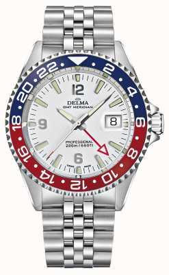 Delma Kwarts GMT   tweekleurige bezel   roestvrijstalen armband   41701.648.6.P014