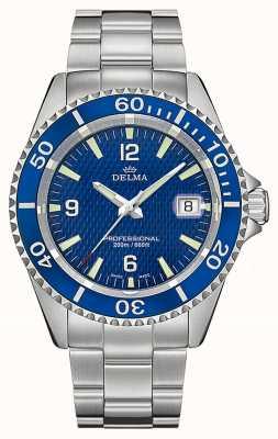Delma Santiago kwarts | roestvrijstalen armband | blauwe wijzerplaat 41701.562.6.044