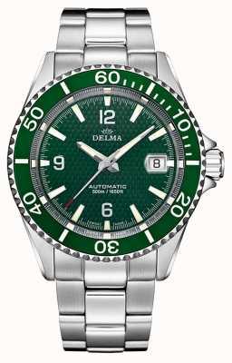 Delma Santiago automatisch | roestvrijstalen armband | groene wijzerplaat 41701.560.6.144