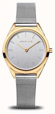 Bering Ultra slim | zilveren mesh armband | gepolijst goud 17031-010