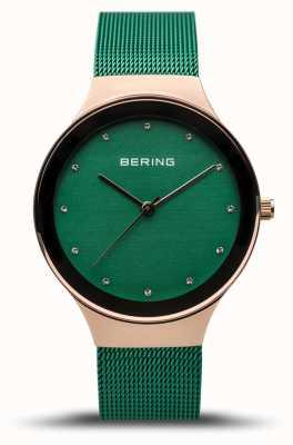Bering Dames klassiek | gepolijst rose goud | groene mesh band | 12934-868