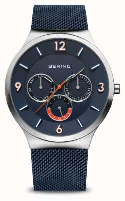 Bering Heren klassieker | geborsteld zilver | blauwe mesh band | blauwe wijzerplaat 33441-307