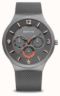 Bering Heren klassieker | geborsteld grijs | grijze mesh band | 33441-377