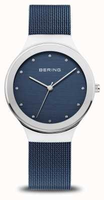 Bering Dames klassiek | gepolijst zilver | blauwe mesh band 12934-307