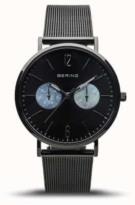 Bering Dames klassiek | gepolijst zwart | zwarte mesh band 14236-123
