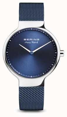 Bering Max rené | gepolijst zilver | blauwe mesh band 15531-307