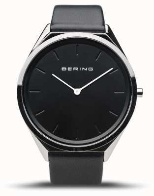 Bering Ultradun | gepolijst zilver | zwarte leren band 17039-402