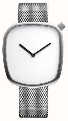 Bering Klassiek | kiezel | geborsteld zilver | vierkante wijzerplaat | zilveren mesh 18040-004