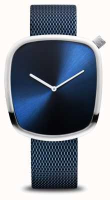 Bering Klassiek | kiezel | geborsteld blauw | vierkante wijzerplaat | blauw gaas 18040-307