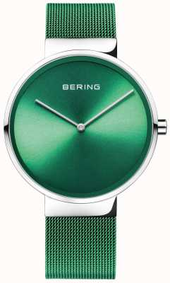 Bering Klassiek | groene mesh band | groene wijzerplaat 14539-808